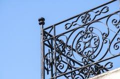 Wrought-iron black balcony corner Stock Photography