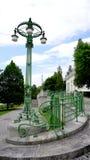 Wrought iron bridge railing and colum Stock Photo