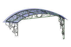Wrought iron canopy. Isolated on white background Stock Photo