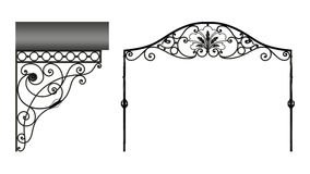 Wrought iron canopy. Isolated on white background Stock Image