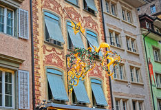 Wrought iron decoration with gold leaf Stock Image