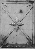 Wrought iron door with decorative ornaments Royalty Free Stock Photo
