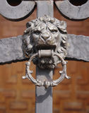 Wrought Iron Door with Lion knocker Royalty Free Stock Photography