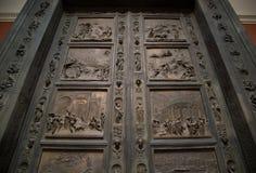 Wrought iron doors with circular handle Royalty Free Stock Photos