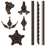 Wrought iron element set. With different decorations isolated on white vector illustration