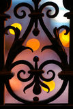 Wrought iron fence. Detail at night Stock Image