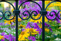 Wrought-iron fence with a blurred background of flowers Stock Images