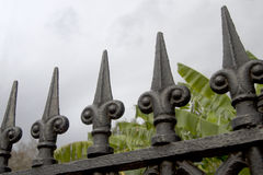 Wrought iron fence  in city New Orleans Royalty Free Stock Photos