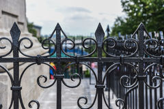 Wrought iron fence detail in Montreal royalty free stock photography