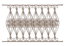 Wrought iron fence and gate detailed on isolated white background. Stock Photography