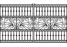 Wrought iron fence or gate.vector eps. Wrought iron fence or gate with peacock or swan with swirls and scrolls.vector eps royalty free illustration