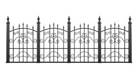 Wrought iron fence isolated on white background. 3d rendering Royalty Free Stock Images