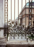 A wrought-iron fence. A wrought-iron fence near the Hungarian National Gallery, Budapest Stock Photo
