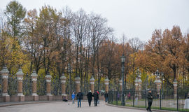 Wrought Iron Fence and park. Stock Photos