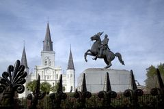 Wrought iron fence  Saint Louis Cathedral  Statue of Andrew Jackson. Wrought iron fence , Saint Louis Cathedral and statue of Andrew Jackson in New Orleans Royalty Free Stock Photos