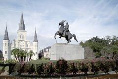 Wrought iron fence  Saint Louis Cathedral  Statue of Andrew Jackson. Wrought iron fence , Saint Louis Cathedral and statue of Andrew Jackson in New Orleans Royalty Free Stock Photo