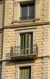 Wrought Iron French Balcony with Green Shutters Stock Photos
