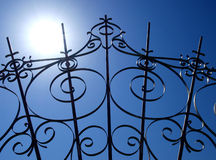 Wrought-iron gate. Detail silhouette, Italy stock photography