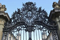 Wrought-iron gate of the baroque Palace Werneck, Germany. Royalty Free Stock Photos