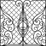 Wrought Iron Gate, Door. Fence vector illustration