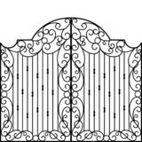 Wrought Iron Gate, Door,. Fence vector illustration