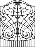 Wrought Iron Gate,. Door, Fence Stock Photos