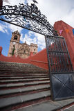 Wrought iron gate in front of church Royalty Free Stock Photography