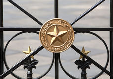 Wrought Iron Gate with Gold Stars. In front of  the state capitol in Austin, Texas Royalty Free Stock Images