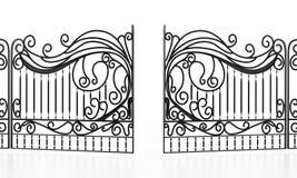 Wrought iron gate isolated on white background. 3D illustration Stock Images