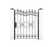 Wrought iron gate isolated on white background. 3d rendering Stock Image
