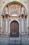 Entrance of the Cathedral - Malaga. The wrought iron gate and the main entrance of the Malaga Cathedral - Andalusia, Spain Stock Image
