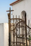 Wrought iron gate of an orthodox church, Greece. Wrought iron gate of an orthodox church in Greece Royalty Free Stock Image