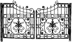 Wrought iron gate. Vector drawing of vintage wrought iron gate royalty free illustration