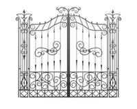 Wrought iron gate  on white background. Fence front view Stock Photo