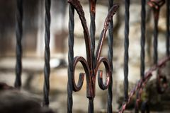 Wrought-iron gates, ornamental forging, forged elements close-up.  royalty free stock image