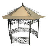 Wrought iron gazebo with flowers and leaves Royalty Free Stock Photo