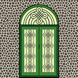 Wrought iron green door Stock Image