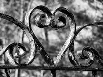 Wrought iron heart. Wrought iron garden gate heart Stock Photography