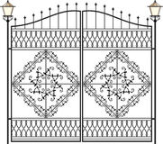 Wrought Iron Lamp, Lantern. Wrought Iron Gate Design with Lamp, Lantern royalty free illustration