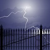 Wrought iron and lightning Stock Photo