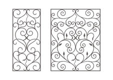 Wrought iron modules. Usable as fences, railings, window grilles isolated on white background stock illustration