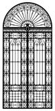 Wrought iron portal. Retro-styled wrought iron portal black silhouette royalty free illustration