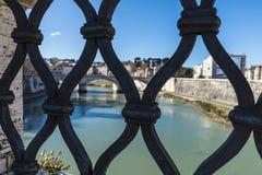 Wrought iron railing of a bridge in Rome, Italy Royalty Free Stock Photos