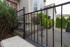 Wrought Iron Railings at House Entrance Closeup Stock Photography