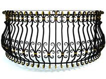Wrought-iron railings for a round balcony in black decorated with gold inserts isolated on white. 3d render. Wrought-iron railings for a round balcony in black Royalty Free Stock Photos