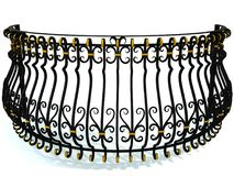 Wrought-iron railings for a round balcony in black decorated with gold inserts isolated on white. 3d render. Wrought-iron railings for a round balcony in black Royalty Free Stock Photography