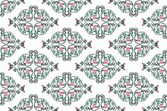 Wrought iron rose vine pattern. Vintage wrought iron pink rose vine as medallion repeat background pattern Royalty Free Stock Photos