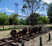 A wrought iron skeleton of a railway engine in a park in Western Australia. Chidlow, Western Australia-December 28, 2017: A wrought iron skeleton of a railway stock photo