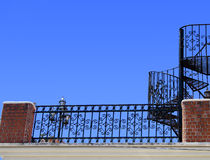 Wrought iron stairs and baluster Stock Photo