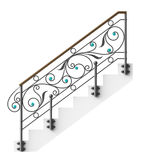 Wrought iron stairs railing. With glass inserts royalty free illustration